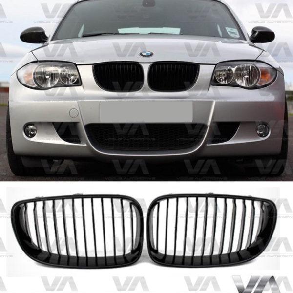 BMW 1 Series E81 E87 LCI GLOSS BLACK Single Kidney Grilles
