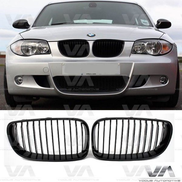 BMW 1 Series E81 E87 LCI GLOSS BLACK Single Kidney Grilles