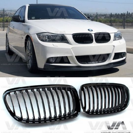 BMW 3 SERIES E90 E91 FRONT BUMPER GLOSS BLACK KIDNEY GRILLES ABS