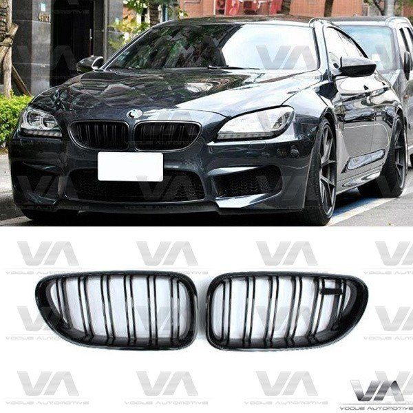 BMW 6 Series F06 F12 F13 M Style GLOSS BLACK Double Kidney Grilles