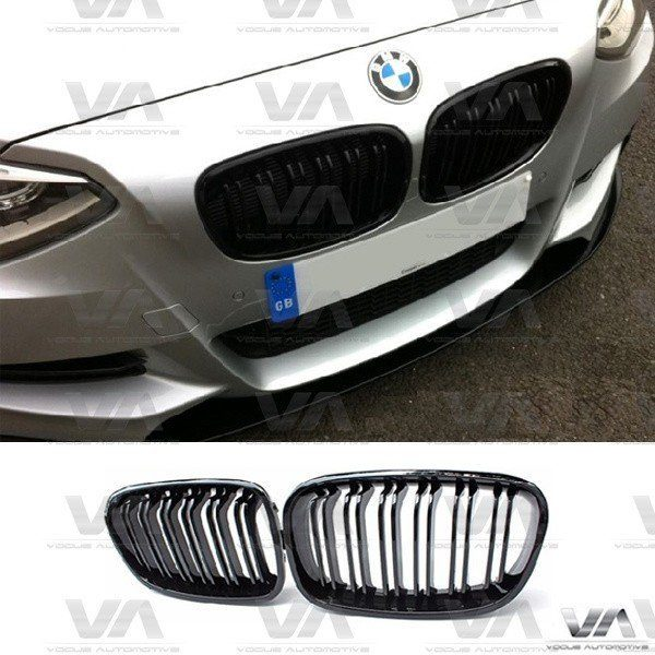 BMW 1 Series F20 F21 PRE LCI M Style GLOSS BLACK Double Kidney Grilles