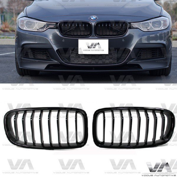 BMW 3 Series F30 F31 M Style GLOSS BLACK Single Kidney Grilles