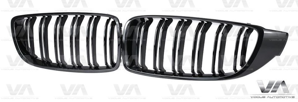 BMW 4 Series F32 F33 F82 M Style GLOSS BLACK Double Kidney Grilles