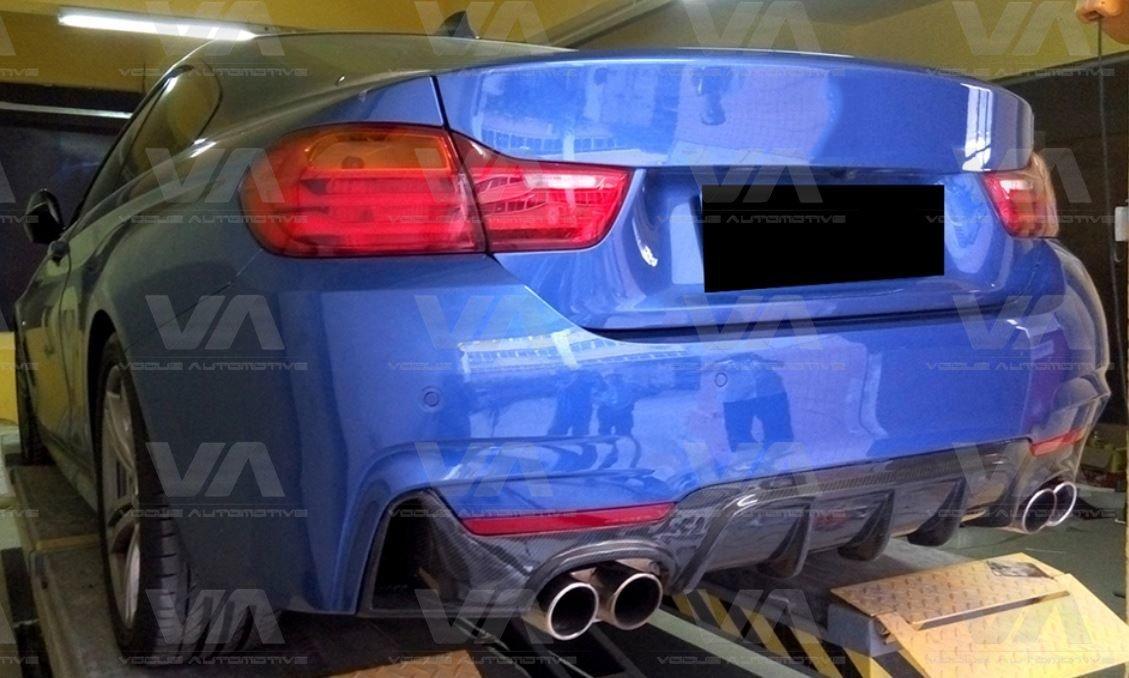 BMW 4 Series F32 F33 F36 PERFORMANCE Style CARBON FIBER Quad Exhaust Rear Diffuser