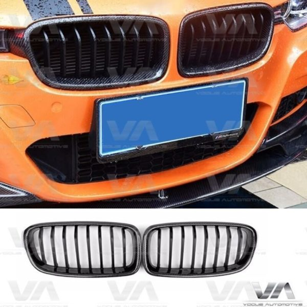 BMW 3 Series F30 F31 CARBON FIBER GLOSS BLACK Single Kidney Grilles