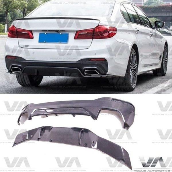 BMW 5 Series M Sport G30 PERFORMANCE Style CARBON FIBER Rear Diffuser