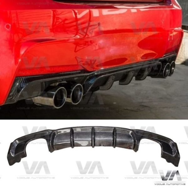 BMW 3 Series F30 F31 M Sport PERFORMANCE Style CARBON FIBER Quad Exhaust Rear Diffuser