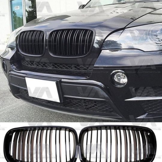 BMW X5 X6 SERIES E70 E71 M STYLE GLOSS BLACK DOUBLE KIDNEY GRILL GRILLE