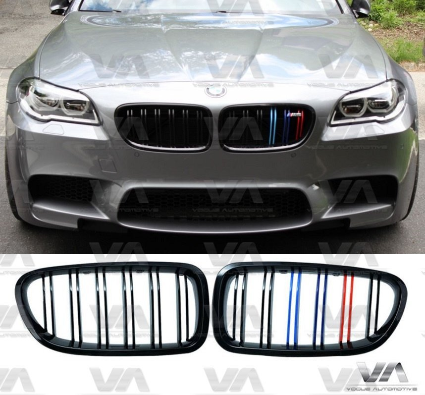 VA FABSBMW 5 Series F10 F11 M5 GLOSS BLACK M Stripes Double Kidney Grilles