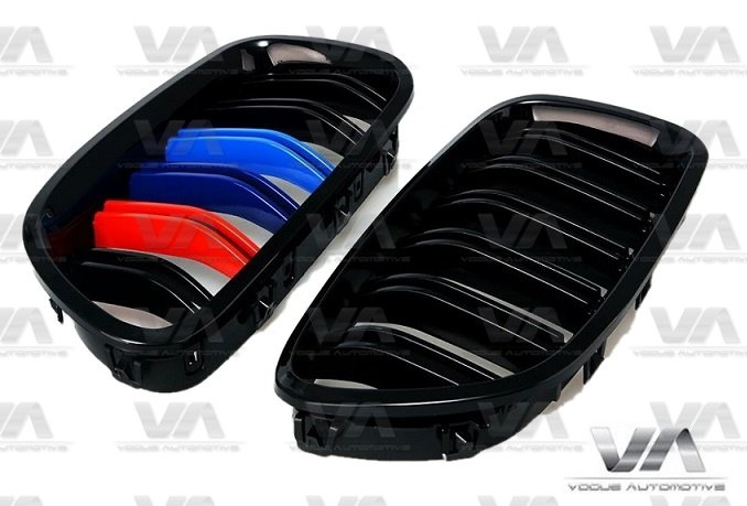 BMW 5 Series F10 F11 M5 GLOSS BLACK M Stripes Double Kidney Grilles