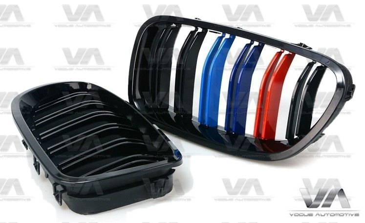 BMW 5 Series F10 F11 M5 GLOSS BLACK M Stripes Double Kidney Grilles