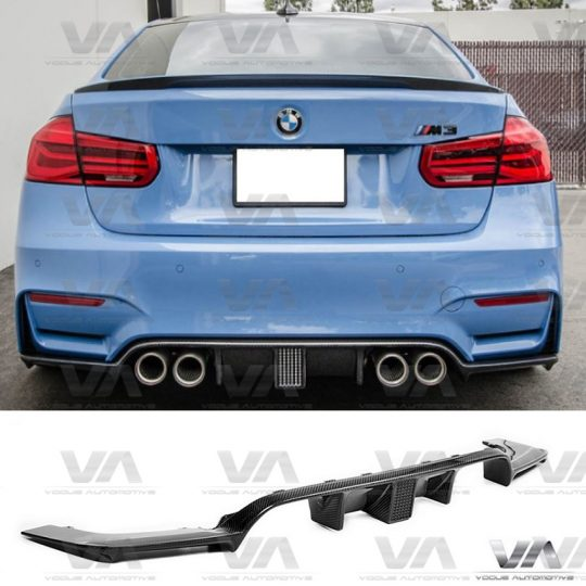 BMW M3 M4 F80 F82 F83 KHL STYLE LED BRAKE CARBON FIBER REAR DIFFUSER