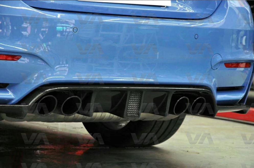 BMW M3 M4 F80 F82 F83 KHL Style LED Brake CARBON FIBER Rear Diffuser