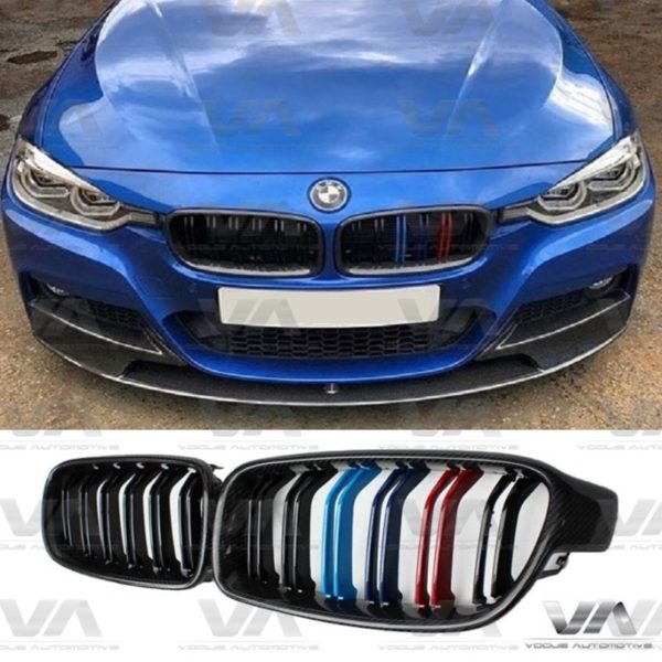 BMW 3 Series F30 F31 CARBON FIBER M Stripes Double Kidney Grilles