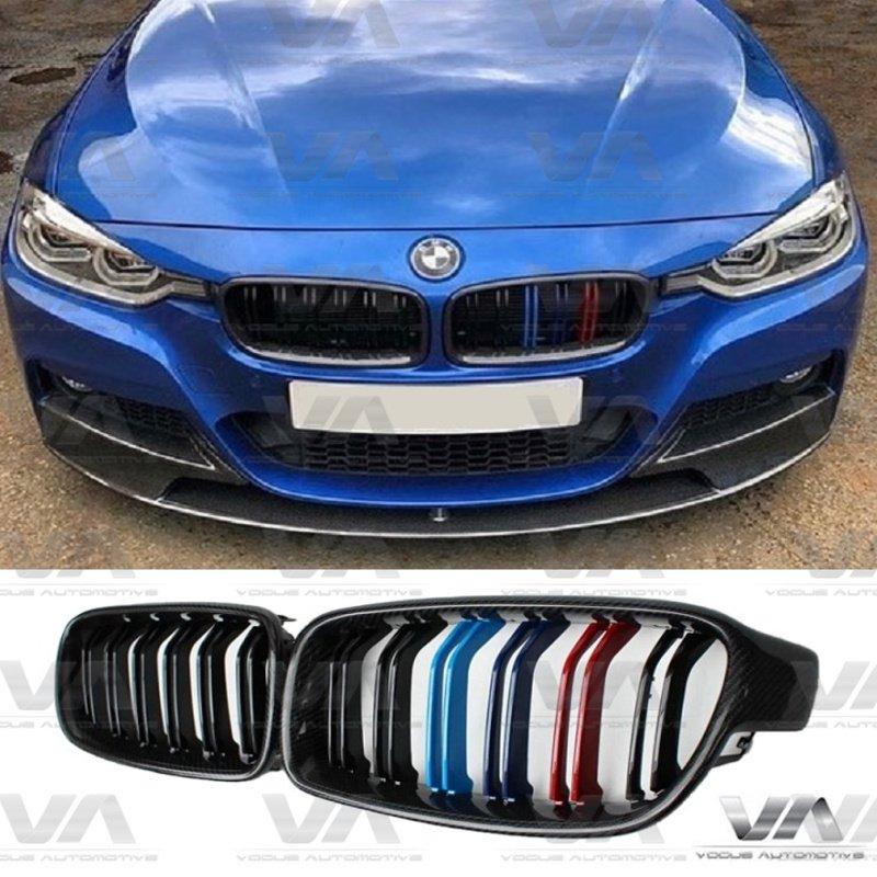 BMW 3 Series F30 F31 CARBON FIBER M Stripes Double Kidney Grilles