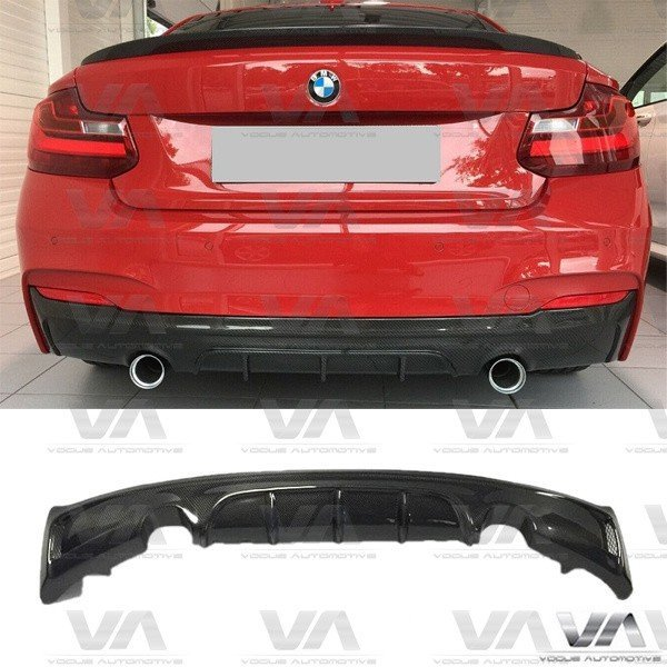 BMW 2 Series F22 F23 M Sport CARBON FIBER PERFORMANCE Style Dual Exhaust Rear Diffuser