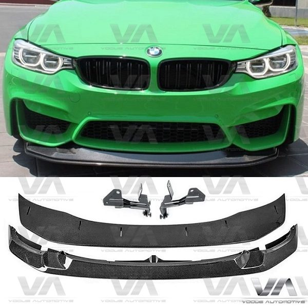 BMW M3 M4 F80 F82 F83 GTS Style 2pc Adjustable CARBON FIBER Front Splitter
