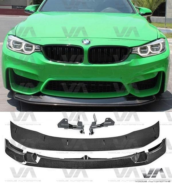 BMW M3 M4 F80 F82 F83 GTS Style 2pc Adjustable CARBON FIBER Front Splitter
