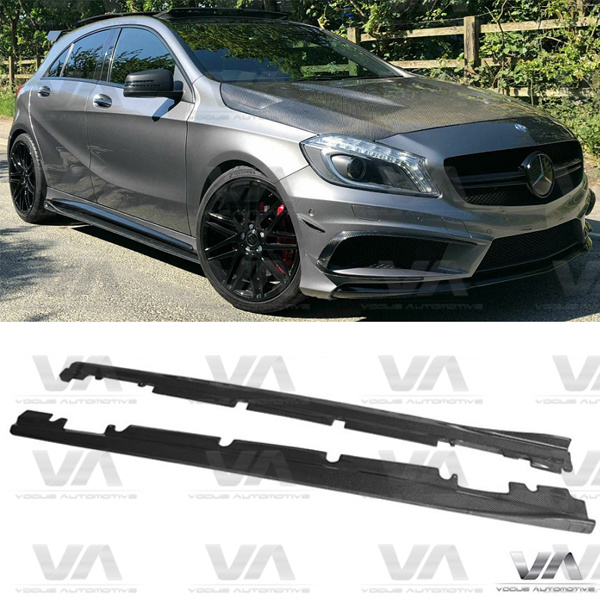 MERCEDES-BENZ A Class W176 CLA W117 RZA Style CARBON FIBER Side Skirts