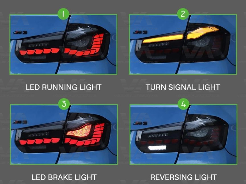 BMW 3 Series F30 M3 F80 CS GTS OLED Style SMOKED Rear Tail Lights