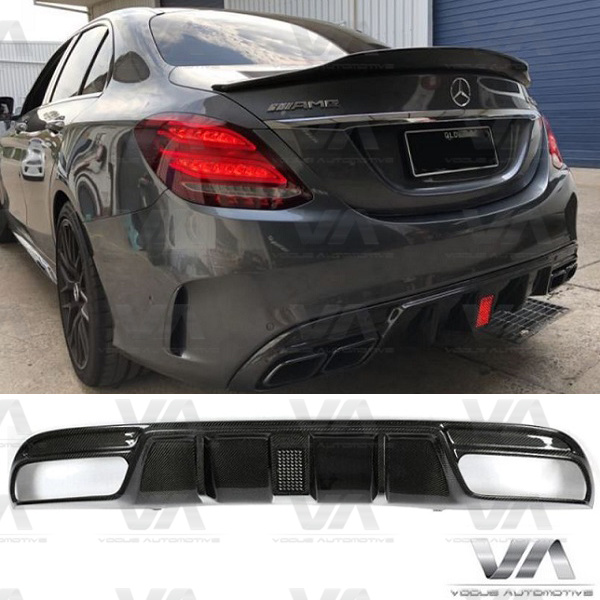 MERCEDES-BENZ W205 SALOON C63 AMG CARBON FIBER Rear Diffuser With LED