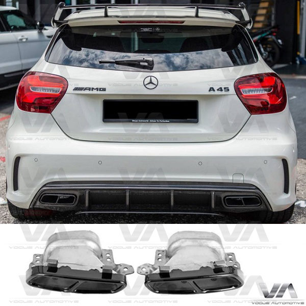MERCEDES-BENZ W176 C117 AMG Stainless Steel GLOSS BLACK Exhaust Tips