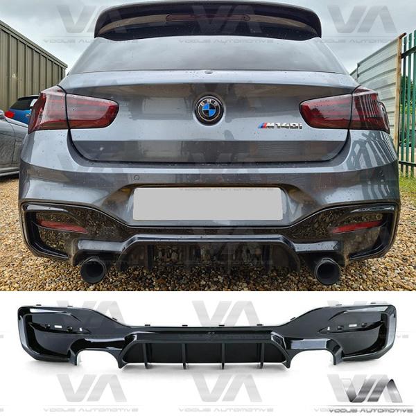 BMW 1 Series F20 F21 LCI M Sport GLOSS BLACK Quad Exhaust Rear Diffuser