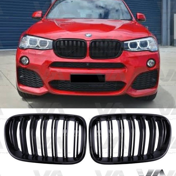 BMW X3 X4 F25 F26 M Style GLOSS BLACK Double Kidney Grilles
