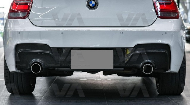 BMW 1 Series F20 F21 Pre LCI CARBON FIBER PERFORMANCE Style Dual Exhaust Rear Diffuser