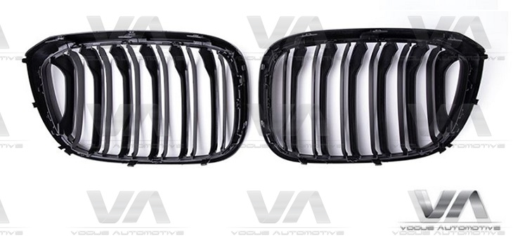 BMW X3 X4 G01 G02 M Style GLOSS BLACK Double Kidney Grilles