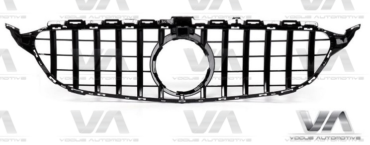 MERCEDES-BENZ C Class A205 C205 S205 W205 14-18 GLOSS BLACK PANAMERICANA GT Style Grille with Cam