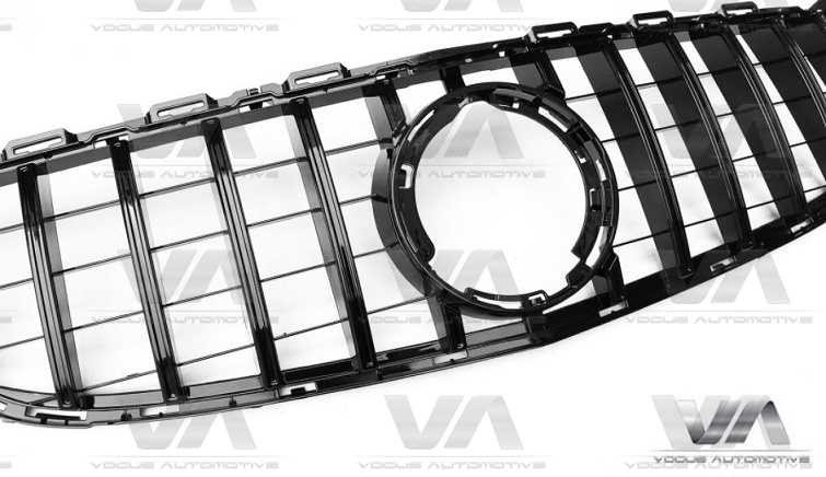MERCEDES-BENZ C Class A205 C205 S205 W205 19+ GLOSS BLACK PANAMERICANA GT Style Grille w/o Cam