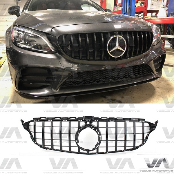 MERCEDES-BENZ C Class A205 C205 S205 W205 19+ GLOSS BLACK PANAMERICANA GT Style Grille with Cam